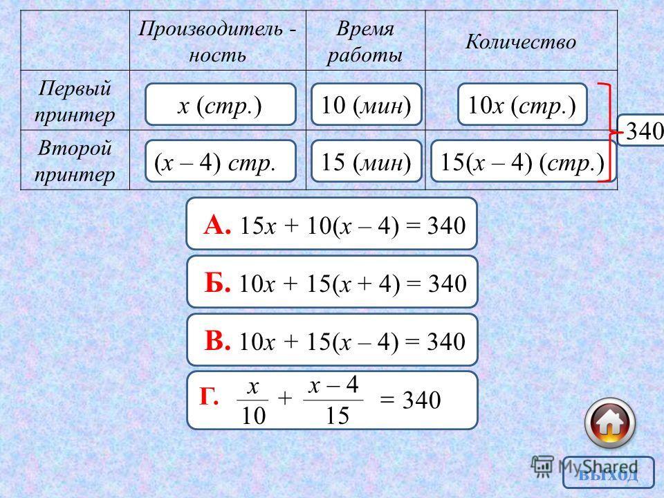 340 Производитель - ность Время работы Количество Первый принтер Второй принтер х (стр.) (х – 4) стр. 10 (мин) 15 (мин) 10 х (стр.) 15(х – 4) (стр.) выход А. 15 х + 10(х – 4) = 340 Б. 10 х + 15(х + 4) = 340 В. 10 х + 15(х – 4) = 340 340 10 х + 15 х –