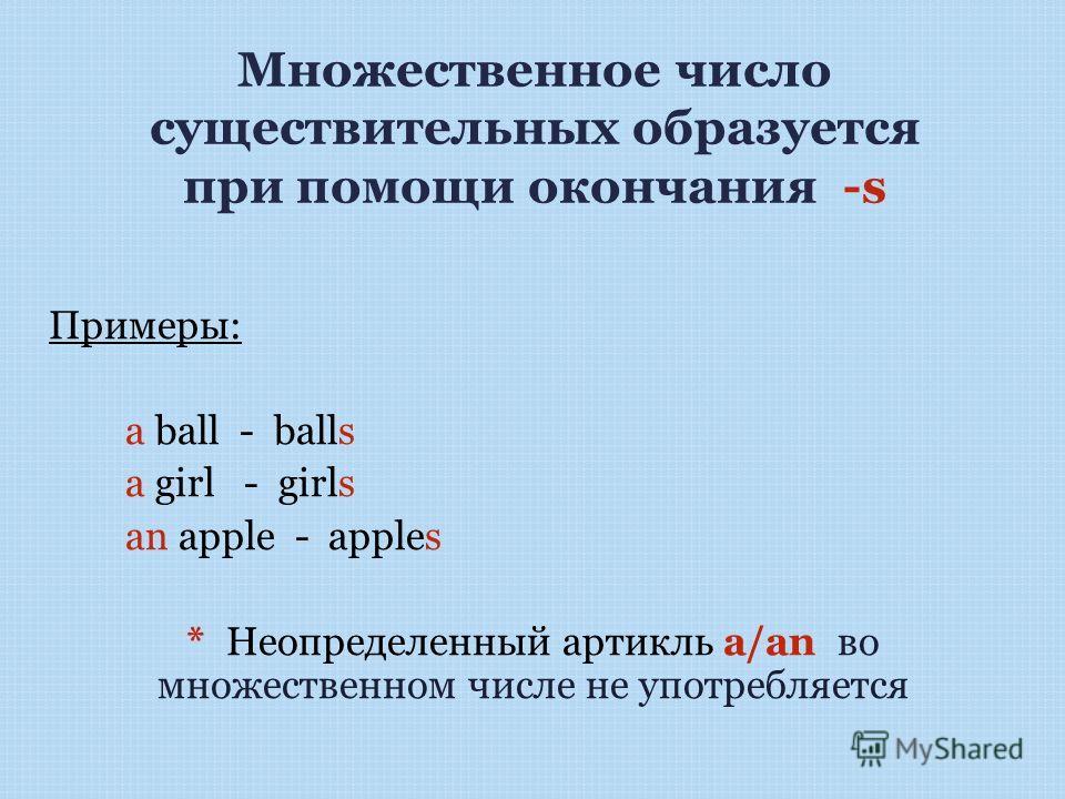 Множественное число существительных образуется при помощи окончания -s Примеры: a ball - balls a girl - girls an apple - apples * Неопределенный артикль a/an во множественном числе не употребляется