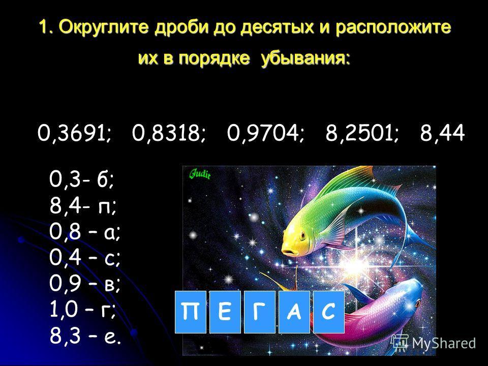 1. Округлите дроби до десятых и расположите их в порядке убывания: 0,3691; 0,8318; 0,9704; 8,2501; 8,44 0,3- б; 8,4- п; 0,8 – а; 0,4 – с; 0,9 – в; 1,0 – г; 8,3 – е. ПЕГАС