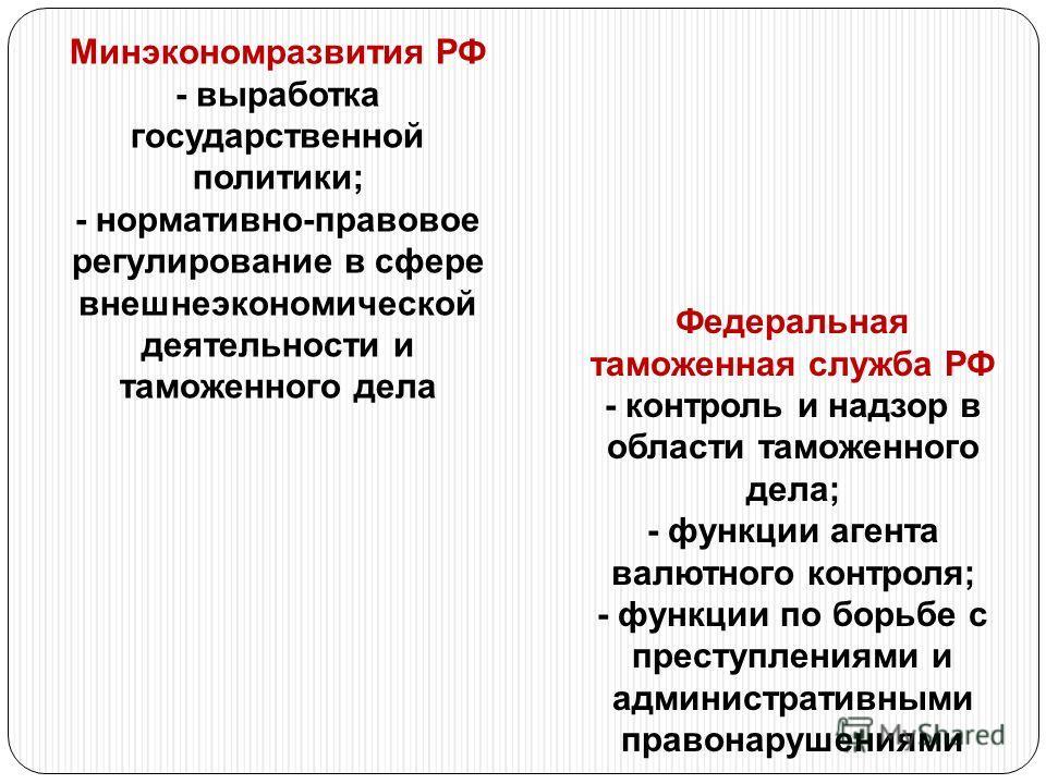 Федеральная таможенная служба РФ - контроль и надзор в области таможенного дела; - функции агента валютного контроля; - функции по борьбе с преступлениями и административными правонарушениями Минэкономразвития РФ - выработка государственной политики;