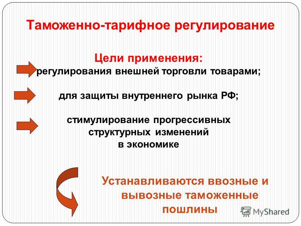 Таможенно-тарифное регулирование Цели применения: регулирования внешней торговли товарами; для защиты внутреннего рынка РФ; стимулирование прогрессивных структурных изменений в экономике Устанавливаются ввозные и вывозные таможенные пошлины