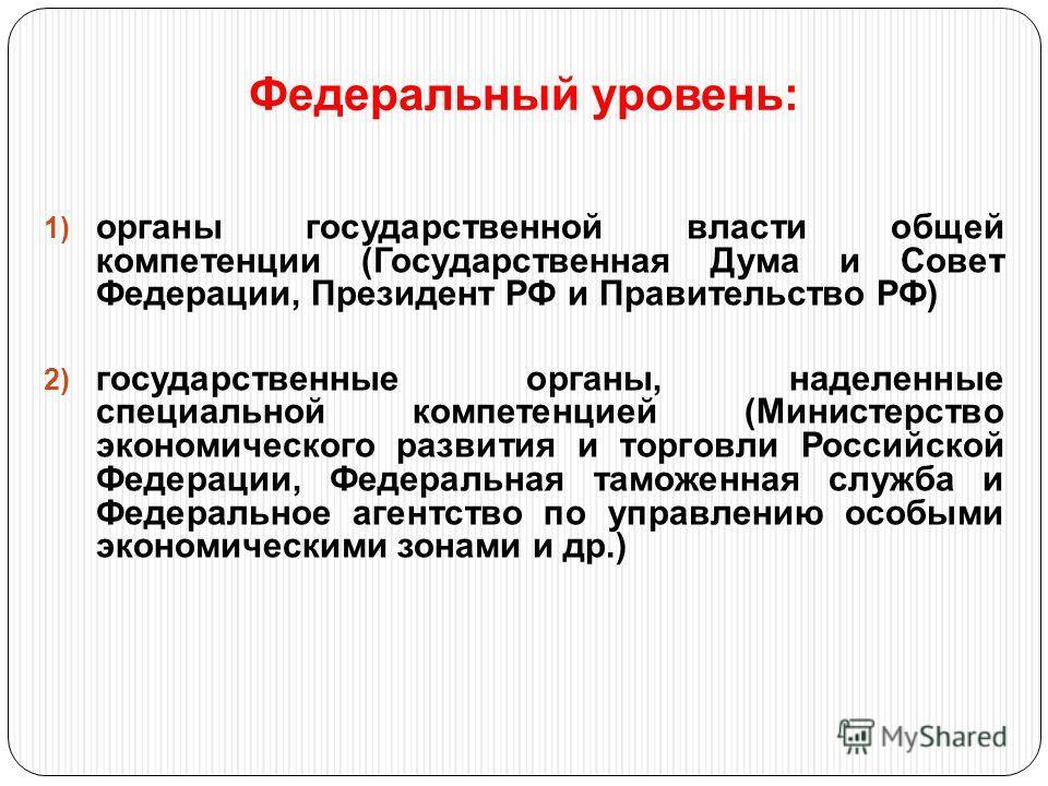 Федеральный уровень: 1) органы государственной власти общей компетенции (Государственная Дума и Совет Федерации, Президент РФ и Правительство РФ) 2) государственные органы, наделенные специальной компетенцией (Министерство экономического развития и т