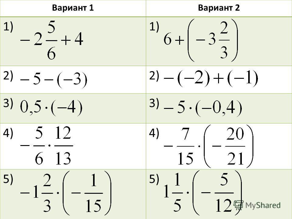 Вариант 1Вариант 2 1) 2) 3) 4) 5)