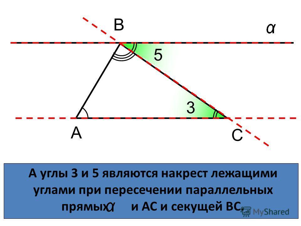 А углы 3 и 5 являются накрест лежащими углами при пересечении параллельных прямых и АС и секущей ВС. А С В С 5 3