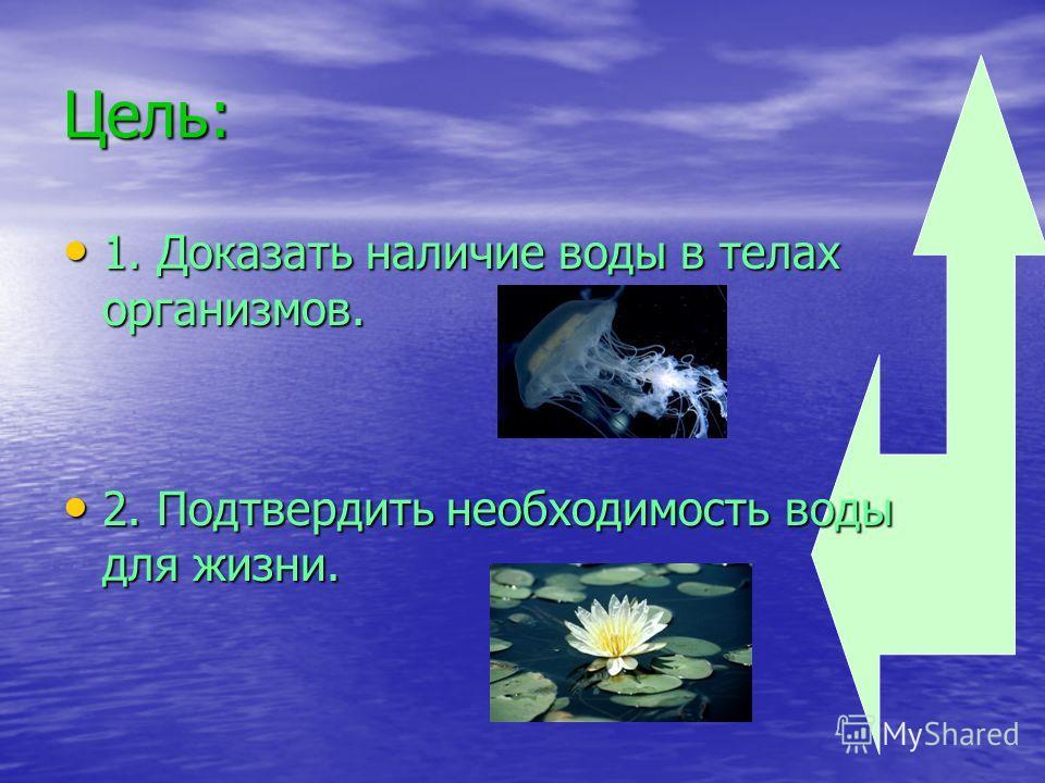 Цель: 1. Доказать наличие воды в телах организмов. 1. Доказать наличие воды в телах организмов. 2. Подтвердить необходимость воды для жизни. 2. Подтвердить необходимость воды для жизни.