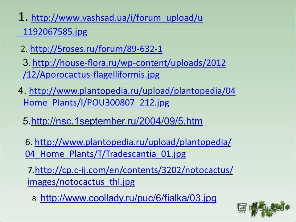 1. http://www.vashsad.ua/i/forum_upload/u http://www.vashsad.ua/i/forum_upload/u _1192067585. jpg 2. http://5roses.ru/forum/89-632-1http://5roses.ru/forum/89-632-1 3. http://house-flora.ru/wp-content/uploads/2012 http://house-flora.ru/wp-content/uplo