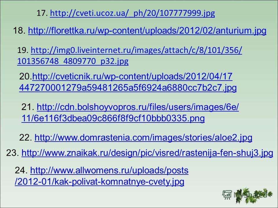 17. http://cveti.ucoz.ua/_ph/20/107777999.jpghttp://cveti.ucoz.ua/_ph/20/107777999. jpg 18. http://florettka.ru/wp-content/uploads/2012/02/anturium.jpghttp://florettka.ru/wp-content/uploads/2012/02/anturium.jpg 19. http://img0.liveinternet.ru/images/