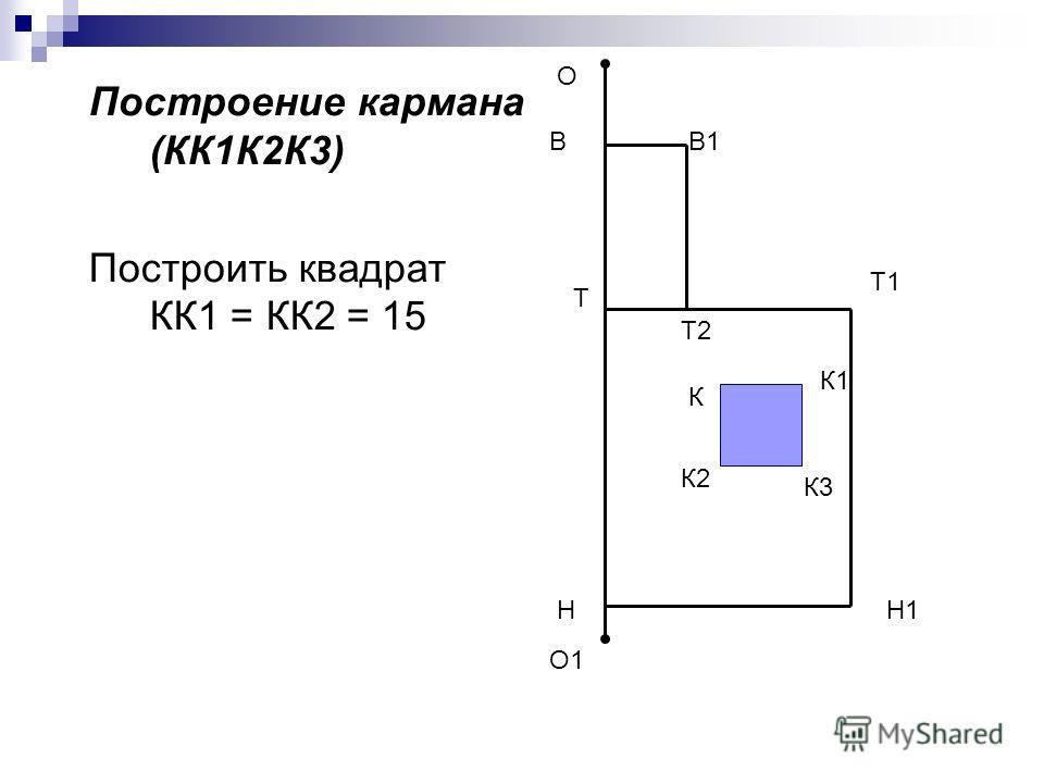 Построение кармана (КК1К2К3) Построить квадрат КК1 = КК2 = 15 О О1 Н Т1 Н1 В Т2 В1 К К1 К2 К3 Т