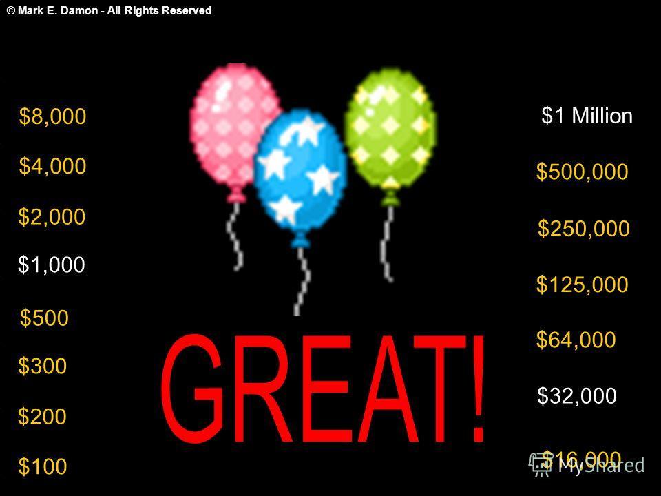 © Mark E. Damon - All Rights Reserved $100 $200 $300 $500 $1,000 $2,000 $4,000 $8,000 $16,000 $32,000 $64,000 $125,000 $250,000 $500,000 $1 Million