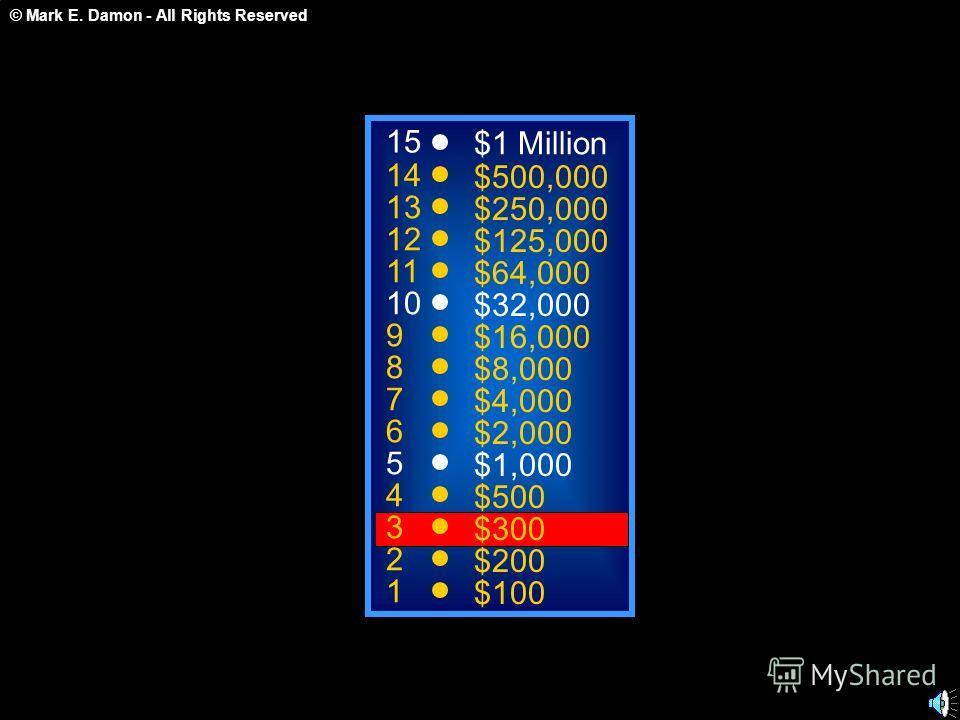 © Mark E. Damon - All Rights Reserved 15 14 13 12 11 10 9 8 7 6 5 4 3 2 1 $1 Million $500,000 $250,000 $125,000 $64,000 $32,000 $16,000 $8,000 $4,000 $2,000 $1,000 $500 $300 $200 $100