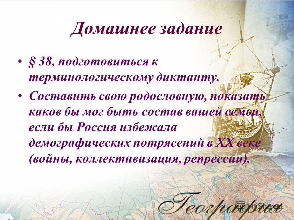 Домашнее задание § 38, подготовиться к терминологическому диктанту. Составить свою родословную, показать каков бы мог быть состав вашей семьи, если бы Россия избежала демографических потрясений в XX веке (войны, коллективизация, репрессии).