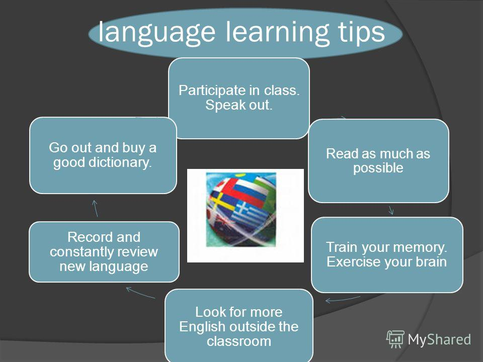 language learning tips Participate in class. Speak out. Read as much as possible Train your memory. Exercise your brain Look for more English outside the classroom Record and constantly review new language Go out and buy a good dictionary.