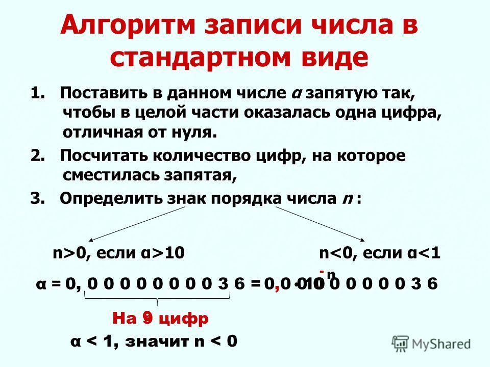 Алгоритм записи числа в стандартном виде 1. Поставить в данном числе α запятую так, чтобы в целой части оказалась одна цифра, отличная от нуля. 2. Посчитать количество цифр, на которое сместилась запятая, 3. Определить знак порядка числа n : n>0, есл