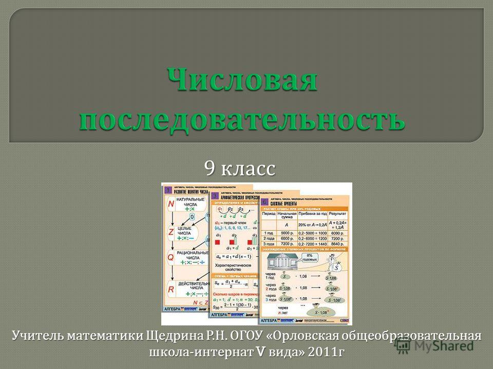 9 класс Учитель математики Щедрина Р. Н. ОГОУ « Орловская общеобразовательная школа - интернат V вида » 2011 г