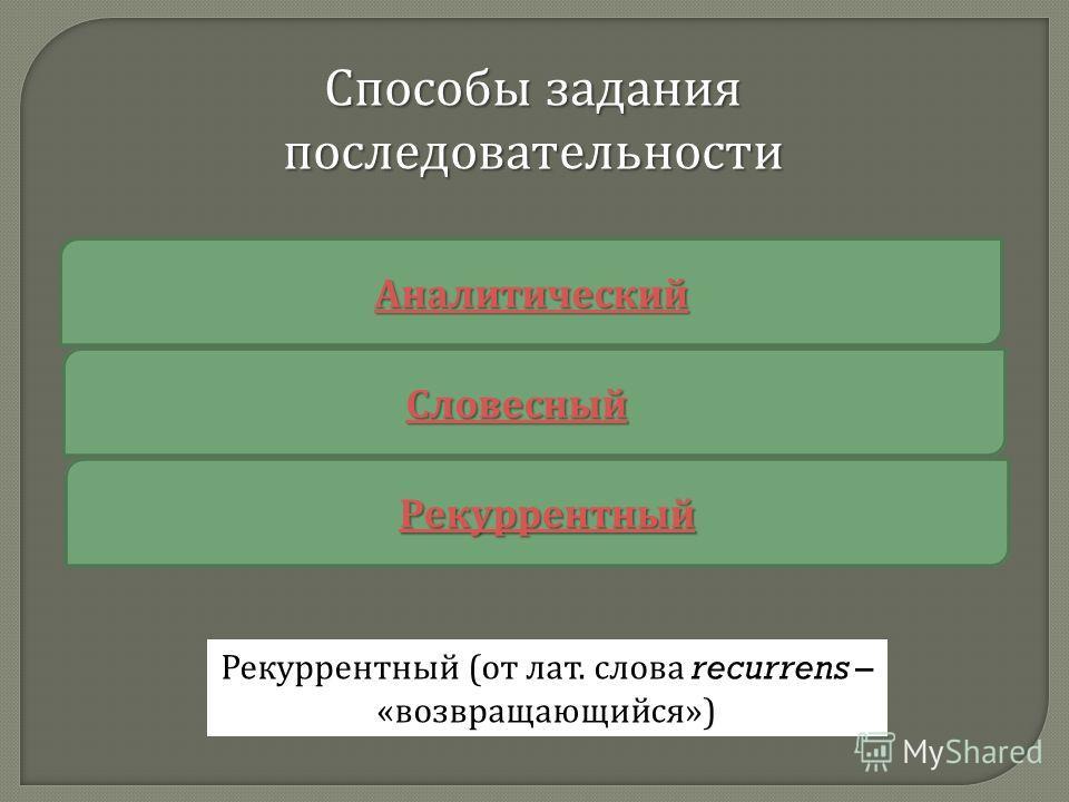 Аналитический Словесный Рекуррентный Способы задания последовательности Рекуррентный (от лат. слова recurrens – «возвращающийся»)