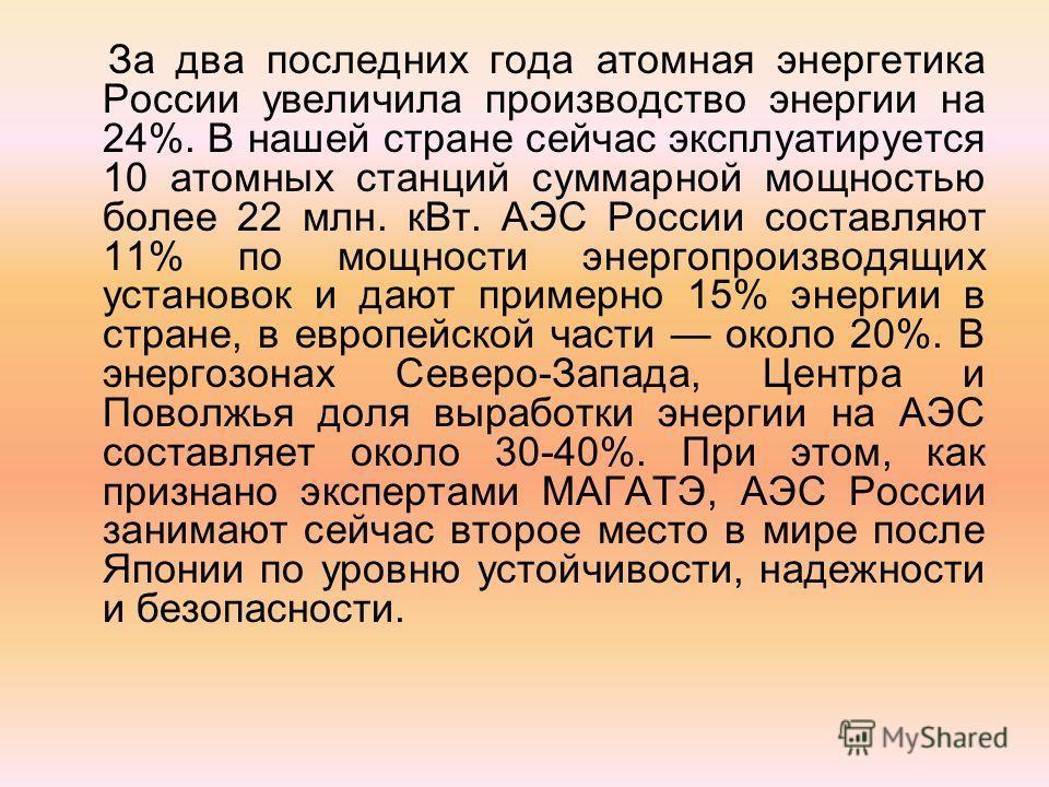За два последних года атомная энергетика России увеличила производство энергии на 24%. В нашей стране сейчас эксплуатируется 10 атомных станций суммарной мощностью более 22 млн. к Вт. АЭС России составляют 11% по мощности энергопроизводящих установок