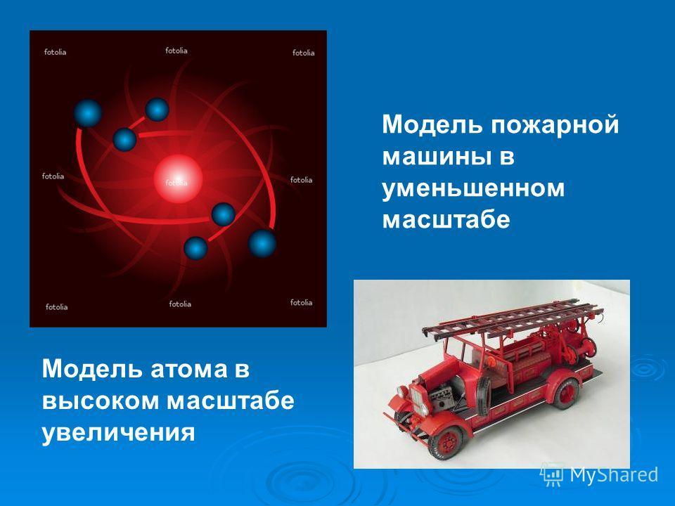 Модель пожарной машины в уменьшенном масштабе Модель атома в высоком масштабе увеличения