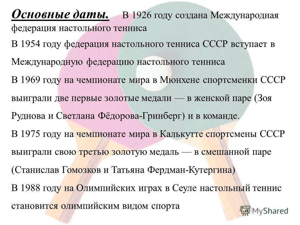 Основные даты. В 1926 году создана Международная федерация настольного тенниса В 1954 году федерация настольного тенниса СССР вступает в Международную федерацию настольного тенниса В 1969 году на чемпионате мира в Мюнхене спортсменки СССР выиграли дв