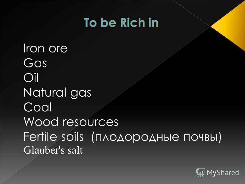 Iron ore Gas Oil Natural gas Coal Wood resources Fertile soils (плодородные почвы) Glauber's salt