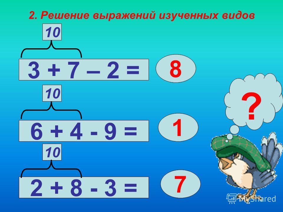 1. Знакомство с разрядным составом чисел в пределах 20. Образец рассуждения: 10 + 3 - это 13 – 3 – Из 1 десятка 3 единиц вычесть 3 единицы, получится 1 десяток, или число 13 – 10 - Из 1 десятка 3 единиц вычесть 1 десяток, получится 3 единицы, или чис