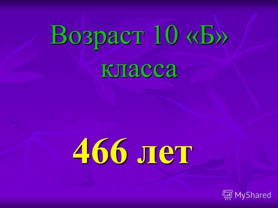 Возраст 10 «Б» класса 466 лет 466 лет