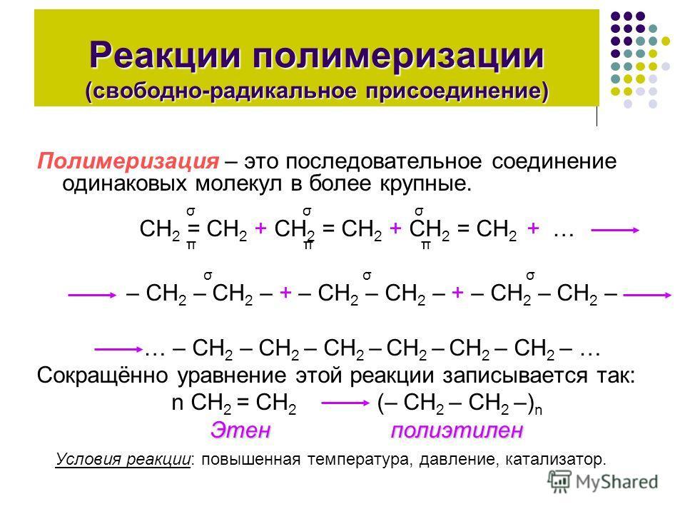Реакции полимеризации (свободно-радикальное присоединение) Полимеризация – это последовательное соединение одинаковых молекул в более крупные. σ σ σ СН 2 = СН 2 + СН 2 = СН 2 + СН 2 = СН 2 + … π π π σ σ σ – СН 2 – СН 2 – + – СН 2 – СН 2 – + – СН 2 –