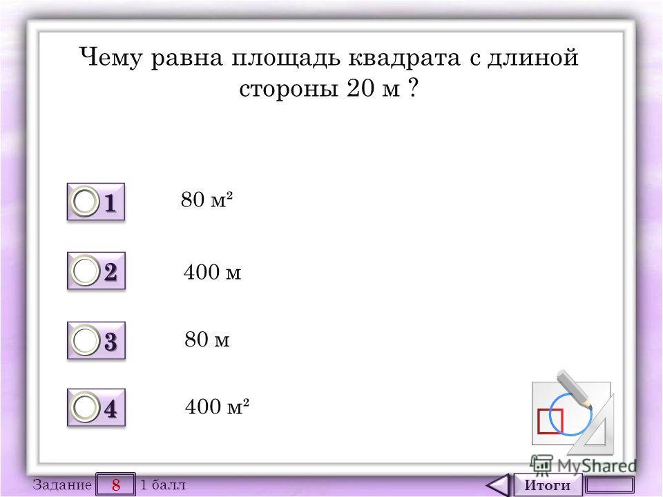 Итоги 8 Задание 1 балл 1111 1111 2222 2222 3333 3333 4444 4444 Чему равна площадь квадрата с длиной стороны 20 м ? 80 м² 400 м 80 м 400 м²