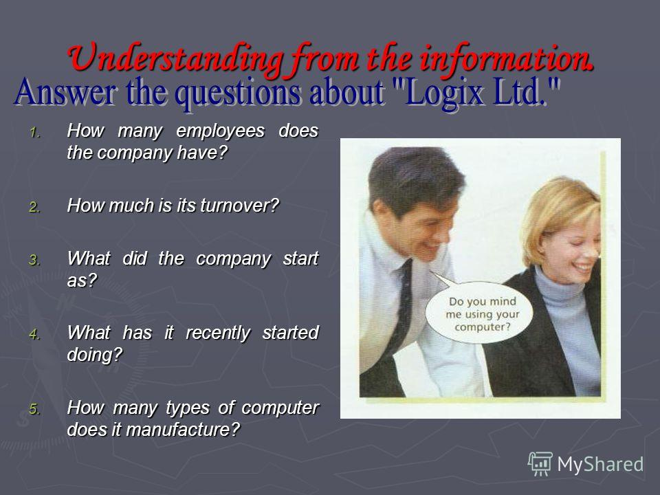 Logix Limited Компания Logix Limited Mark Smith is working at a computer company during his university holidays. The company is called Logix. It has 25 employees, and the main part of its business is helping companies to run their software systems. H
