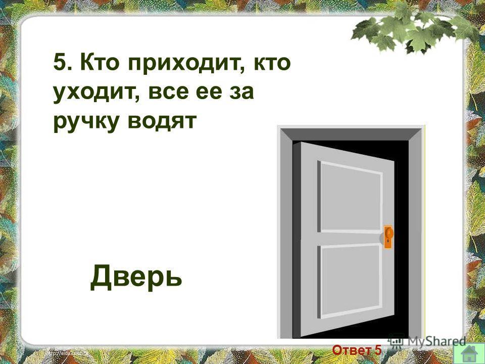 5. Кто приходит, кто уходит, все ее за ручку водят Дверь Ответ 5