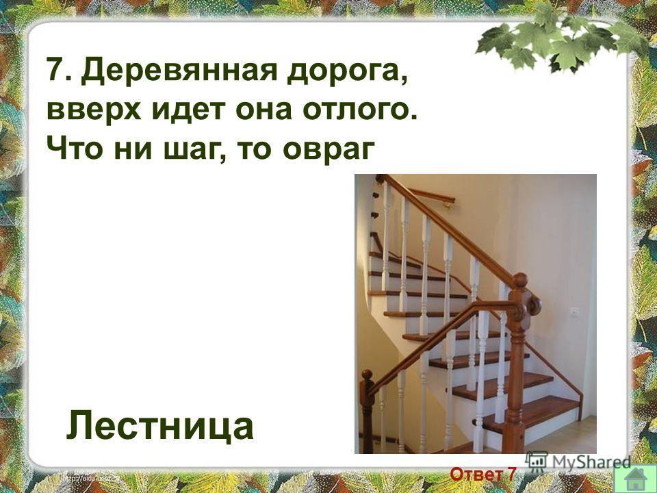 7. Деревянная дорога, вверх идет она отлого. Что ни шаг, то овраг Лестница Ответ 7