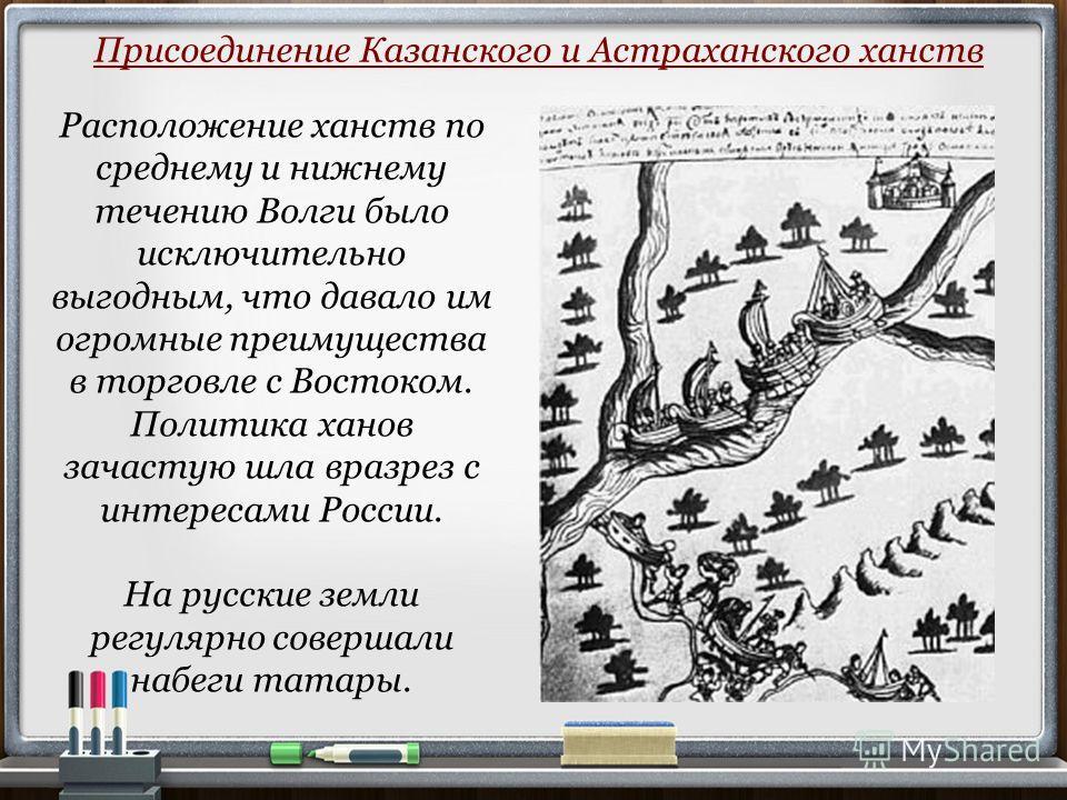 Расположение ханств по среднему и нижнему течению Волги было исключительно выгодным, что давало им огромные преимущества в торговле с Востоком. Политика ханов зачастую шла вразрез с интересами России. На русские земли регулярно совершали набеги татар