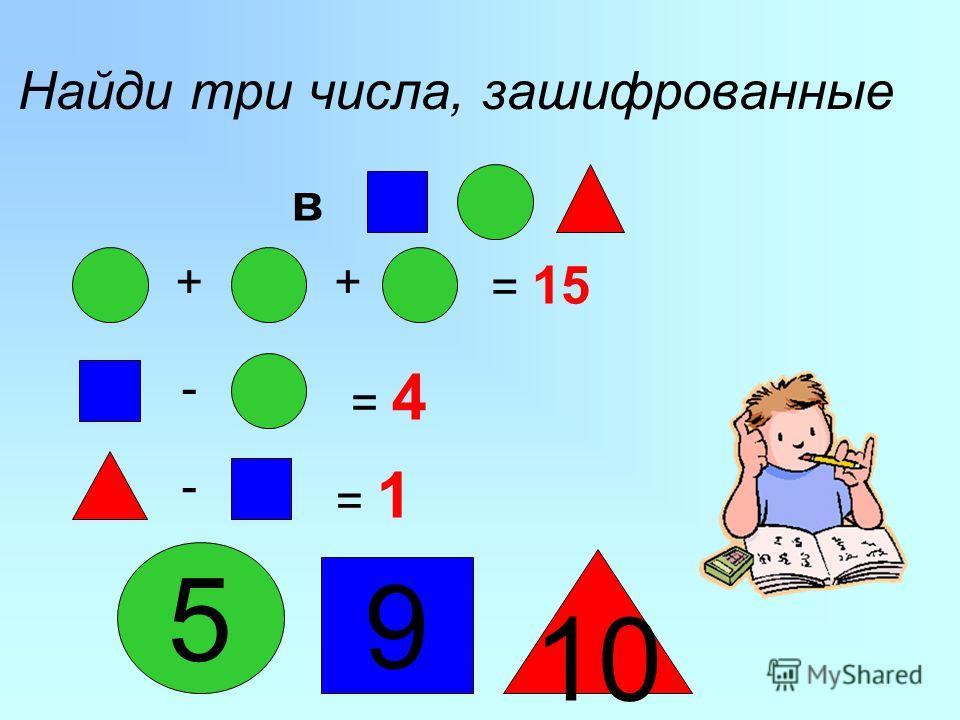 ++ = 15 - = 4 - = 1 Найди три числа, зашифрованные 5 10 9 в