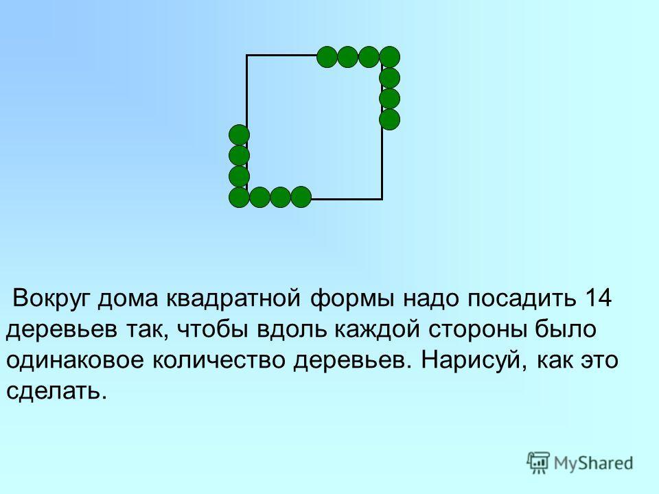 Вокруг дома квадратной формы надо посадить 14 деревьев так, чтобы вдоль каждой стороны было одинаковое количество деревьев. Нарисуй, как это сделать.