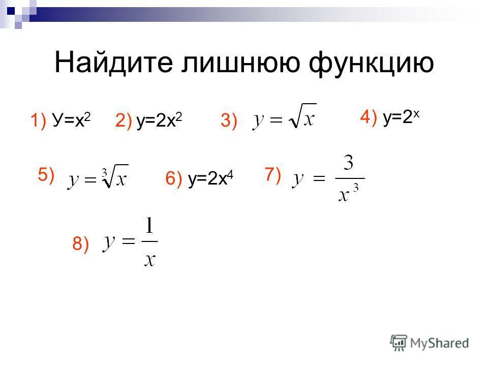Найдите лишнюю функцию 1) У=х 2 2) у=2 х 2 3) 4) у=2 х 5) 6) у=2 х 4 7) 8)