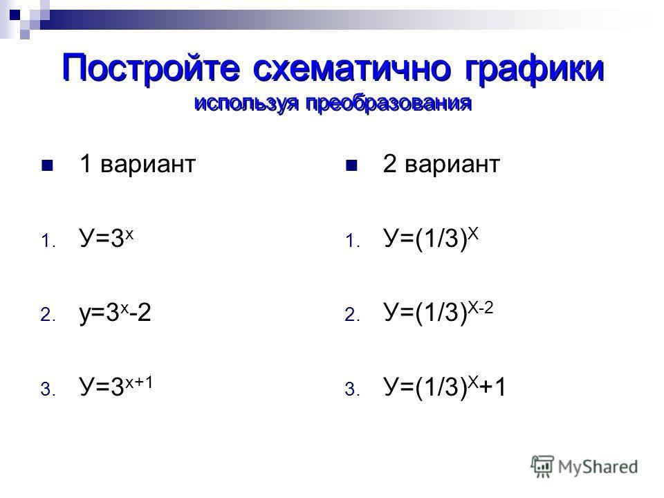 Постройте схематично графики используя преобразования 1 вариант 1. У=3 х 2. у=3 х -2 3. У=3 х+1 2 вариант 1. У=(1/3) Х 2. У=(1/3) Х-2 3. У=(1/3) Х +1