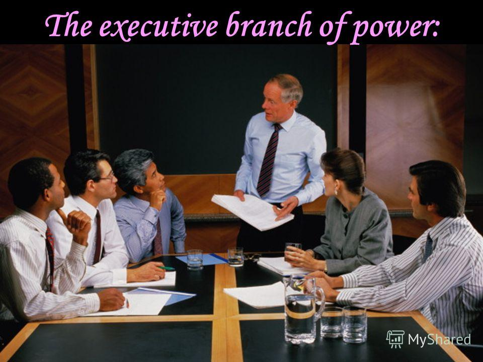 The executive branch of power: