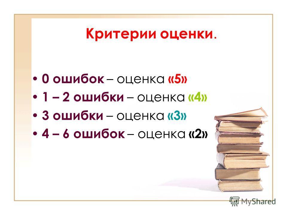 Критерии оценки. 0 ошибок – оценка «5» 1 – 2 ошибки – оценка «4» 3 ошибки – оценка «3» 4 – 6 ошибок – оценка «2»