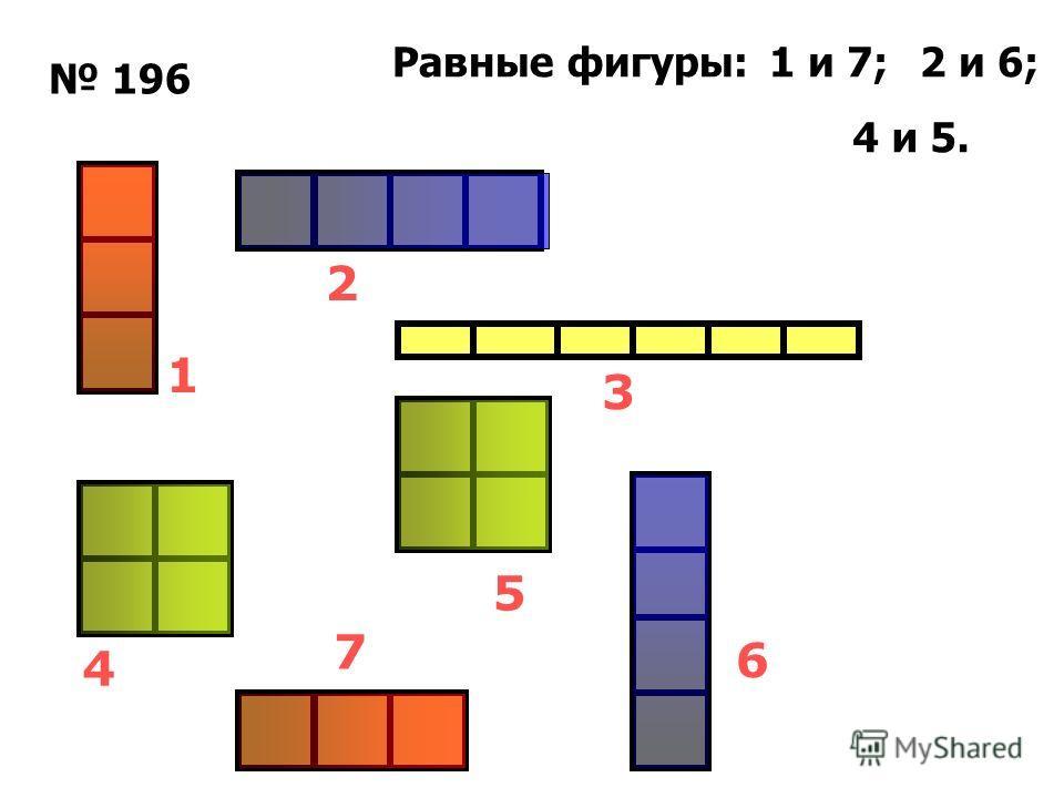 196 1 7 6 5 3 2 4 Равные фигуры:1 и 7;2 и 6; 4 и 5.