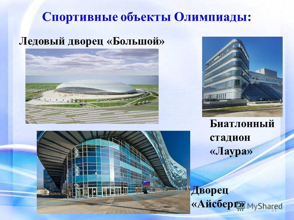 Дворец «Айсберг» Биатлонный стадион «Лаура» Спортивные объекты Олимпиады: Ледовый дворец «Большой» 11