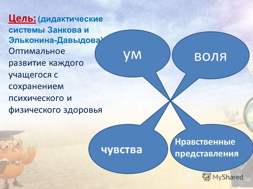 Цель: (дидактические системы Занкова и Эльконина-Давыдова) Оптимальное развитие каждого учащегося с сохранением психического и физического здоровья воля ум чувства Нравственные представления
