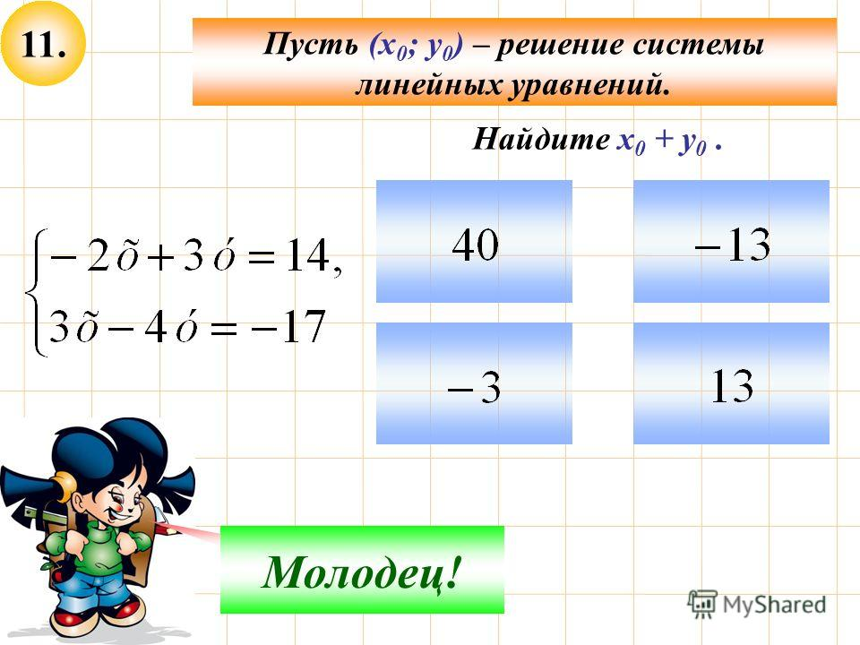 11. Пусть (х 0 ; у 0 ) – решение системы линейных уравнений. Не верно! Молодец! Найдите х 0 + у 0.