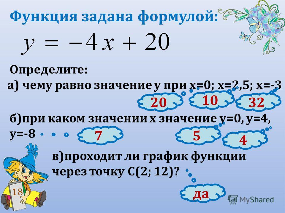 Функция задана формулой: Определите: а) чему равно значение у при х=0; х=2,5; х=-3 б)при каком значении х значение у=0, у=4, у=-8 в)проходит ли график функции через точку С(2; 12)? 18 20 10 32 5 4 7 да