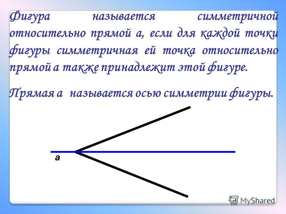 Фигура называется симметричной относительно прямой а, если для каждой точки фигуры симметричная ей точка относительно прямой а также принадлежит этой фигуре. Прямая а называется осью симметрии фигуры. а
