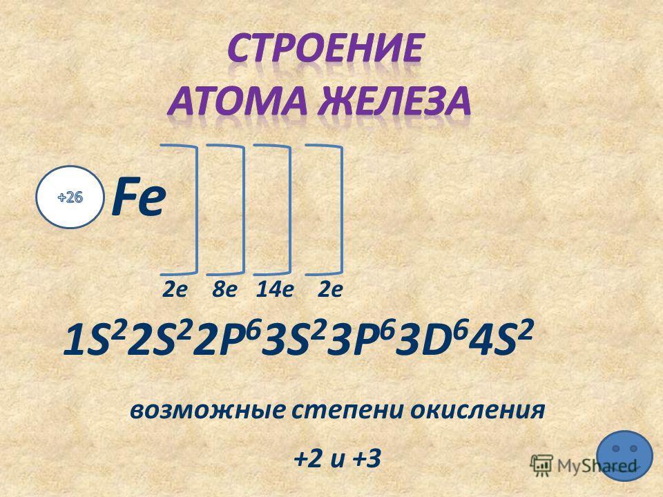 2 е 8 е 14 е 2 е 1S 2 2S 2 2P 6 3S 2 3P 6 3D 6 4S 2 возможные степени окисления +2 и +3
