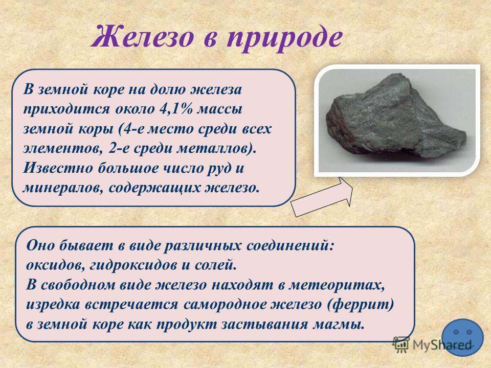 В земной коре на долю железа приходится около 4,1% массы земной коры (4-е место среди всех элементов, 2-е среди металлов). Известно большое число руд и минералов, содержащих железо. Оно бывает в виде различных соединений: оксидов, гидроксидов и солей