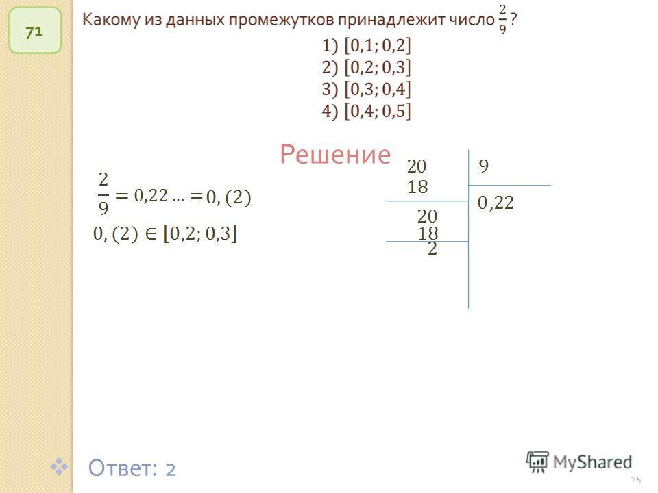 © Рыжова С. А. 15 71 Решение Ответ : 2