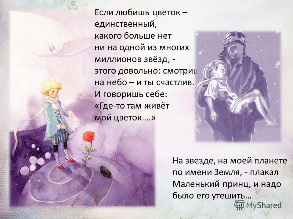 Если любишь цветок – единственный, какого больше нет ни на одной из многих миллионов звёзд, - этого довольно: смотришь на небо – и ты счастлив. И говоришь себе: «Где-то там живёт мой цветок….» На звезде, на моей планете по имени Земля, - плакал Мален