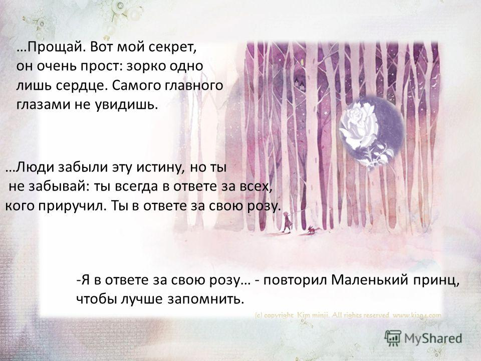…Прощай. Вот мой секрет, он очень прост: зорко одно лишь сердце. Самого главного глазами не увидишь. …Люди забыли эту истину, но ты не забывай: ты всегда в ответе за всех, кого приручил. Ты в ответе за свою розу. -Я в ответе за свою розу… - повторил