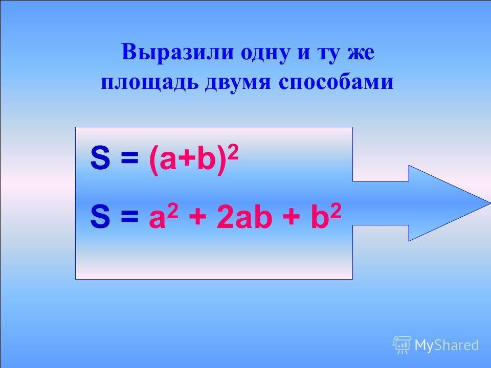 ПЛОЩАДЬ КВАДРАТА РАВНА S1+S2+S3+S4 S2S3 S4 S1 +++ а 2 ab b 2 а 2 + 2ab + b 2 8 из 56