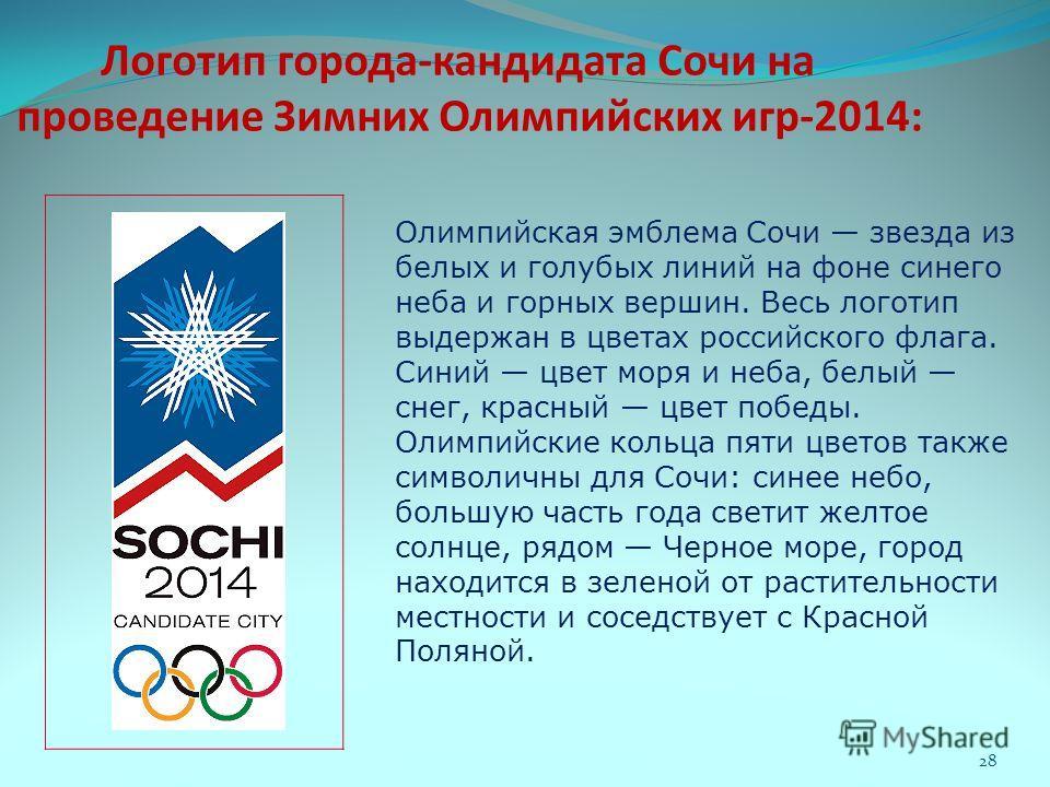 Логотип города-кандидата Сочи на проведение Зимних Олимпийских игр-2014: Олимпийская эмблема Сочи звезда из белых и голубых линий на фоне синего неба и горных вершин. Весь логотип выдержан в цветах российского флага. Синий цвет моря и неба, белый сне